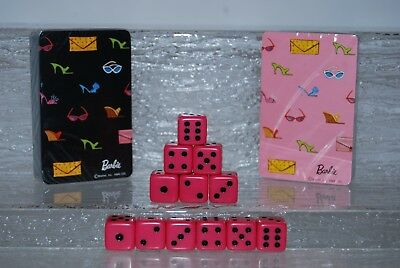 Mattel BARBIE 2 New Sealed Decks of Playing Cards Pink & Black & 12 Pink Dice