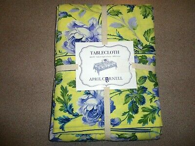 """APRIL CORNELL TABLECLOTH FLORAL SUNNY YELLOW BLUE GRN 60"""" x 120"""" COTTON NEW!"""