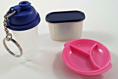 Tupperware SWING BOX Rocker top CONTAINER + 3 GADGETS Dish Key Chain Magnet lot