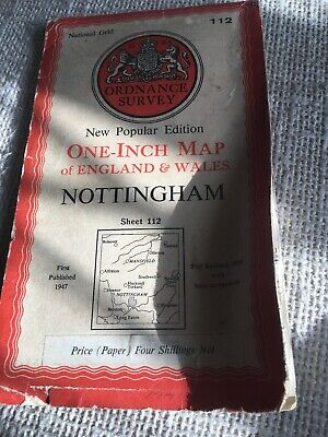 1947 OS Ordnance Survey New Popular Edition One-Inch Map 112 Nottingham