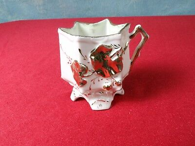 ANTIQUE Victorian Mustache Style Cup Gold Raised Flowers Star Leaves Movember