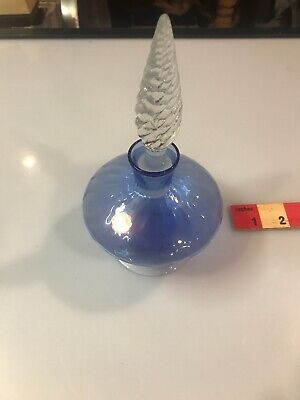 Beautiful Vintage Blue Glass Bottle Decanter Glass With Stopper Genie ITALY