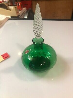Beautiful Vintage Green Glass Bottle Decanter Glass With Stopper Genie ITALY