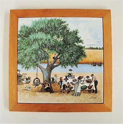 Lowell Herrero Art Tile Trivet 1982 Countryside Picnic Scene