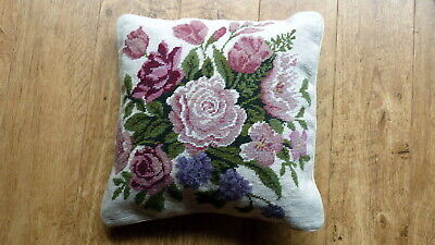 hand made wool tapestry floral cushion - LOVELY