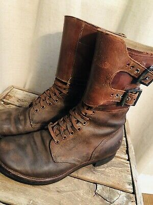 Original 1944 AUTHENTIC Pair WW2 WWII US Army Combat Boots Double Buckle 9 1/2 D