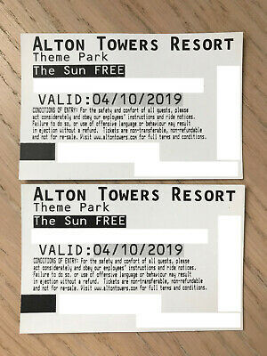 2 x Alton Towers Tickets Friday 4th October 04/10/19