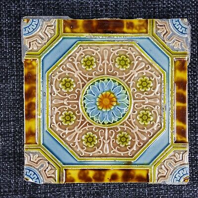 Victorian Tile - Majolica - Blue & Gold Flower In The Centre  - C1900