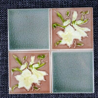 J H Barratt - C1900 - Majolica Chequer Tile - Art Nouveau White Flower