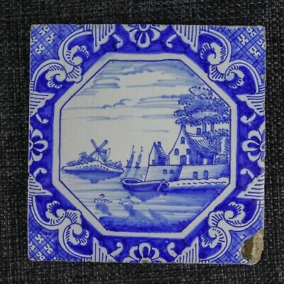 Dutch Delftware Tile - 19Th C - Boats, Swans, Windmill On The Canal