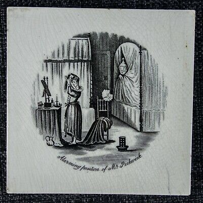 T & R Boote - Rare Charles Dickens Tile - C1880 - Alarming Position Mr Pickwick