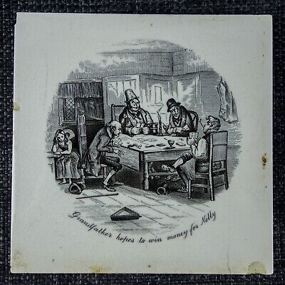T & R Boote - Charles Dickens Tile C1880 - Grandfather Hopes To Win Money - B&W