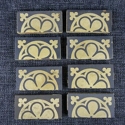 8 X Minton Hollins & Co - Arts & Crafts - 1864 - Encaustic Tile - Pugin Style