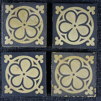 4 X Minton Hollins & Co - Arts & Crafts - 1864 - Encaustic Tile - Pugin Style