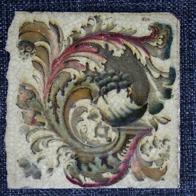 Victorian Tile - Swirl Of Foliage - C1880 - Aesthetic Movement - 1Of2