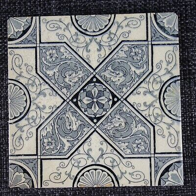 Victorian Tile - Aesthetic Movement - C1880 - Blue Geometric Design With Foliage
