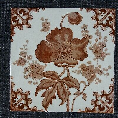 Victorian Tile - Aesthetic Movement - C1880 - Ochre Poppy