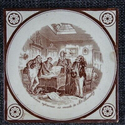 T & R Boote - Rare Charles Dickens Tile - C1880 - Victorian - Mr Bunsby - 1Of3