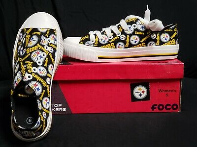 Pittsburgh Steelers Low Top Sneakers Womens New NFL Licensed Size 6