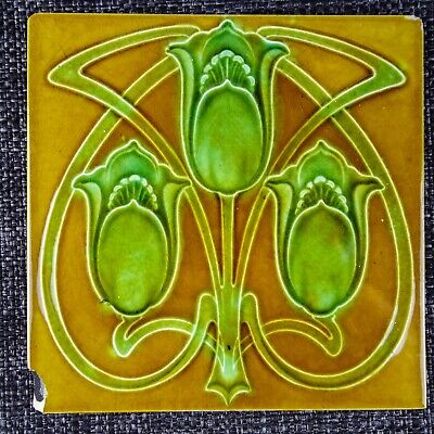 Art Nouveau - Tube-Lined Tile - C1900 - Gold Ground Stylised Green Flowers