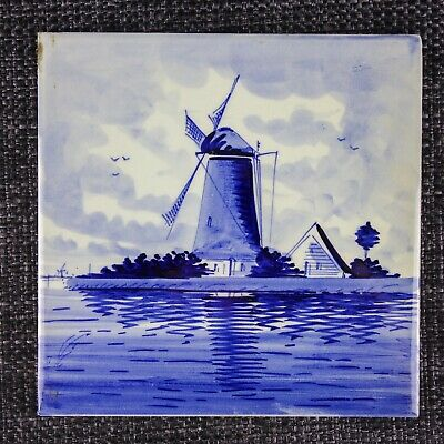 Delft - C1900 - Belgium 'H' Factory - Windmill - Hand-Painted Holland - 1Of2