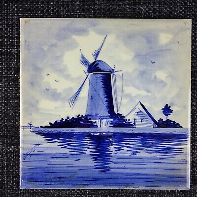 Delft - C1900 - Belgium 'H' Factory - Windmill - Hand-Painted Holland- 2Of2