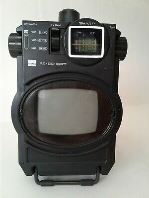 "Sharp Sidekick Vintage Television Portable Tv 4"" B&W Screen"