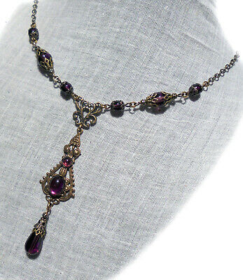 Filigree Glass Amethyst Purple Plum Tear Drop Necklace Gothic Victorian Tudor