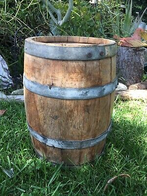"SMALL ANTIQUE WOODEN WHISKEY BARREL WINE KEG / 14 1/2"" Tall"