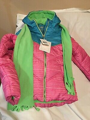 Pacific Trail Youth Girls Winter Jacket, Size XL (16), NWT, Pink/Blue With Green
