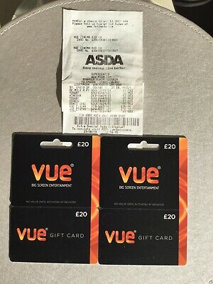 Vue Cinema Gift Cards 2 X £20 With Long Date