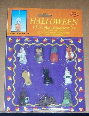 "10 Pc. Halloween 1"" Mini Ornament Set For A Mini Tree - Ghost Witch Pumpkin Bat"