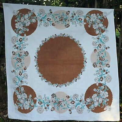 "Tulip Carnation Print Vintage Cotton Tablecloth Brown Turquoise Green 47"" x 51"""