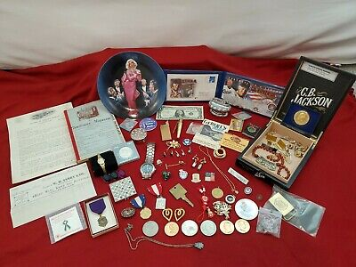 Junk drawer lot, Swiss Army watch,Old money, Medals,$1 Silver Certific, lighters