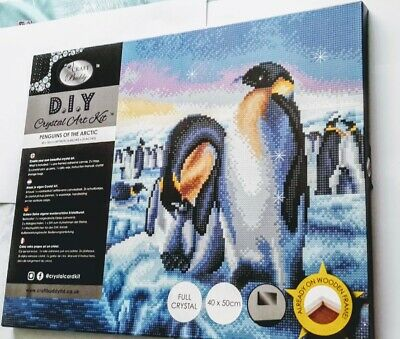 Craft Buddy Crystal Art Kit on Canvas (Penguins of the Arctic) 40 x 50cm
