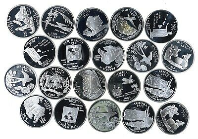 20 - PROOF 90% Silver State Quarter - $5 FACE Roll Bullion Junk Collection *774