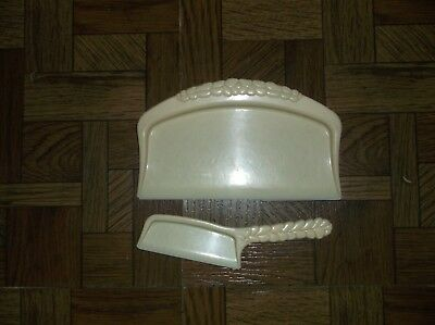 Vintage Antique Plastic Crumb Catcher Table Dust Pan (Butler Sweeper Tray Set