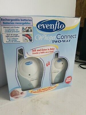 "evenflo ""whisper connect""  Nursery Baby Monitor 900 MHz In Box W Manual"