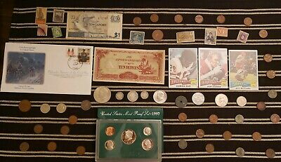 Junk Drawer Lot: Old U.S. Coins 1907+, Scrap Silver, Proof Set, Currency...