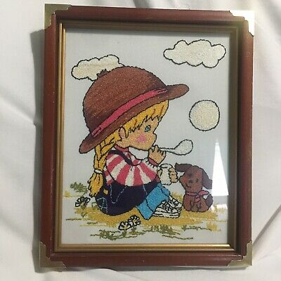 Vintage Girl Blowing Bubbles Punch Embroidery Picture Needle Work Crewel Framed