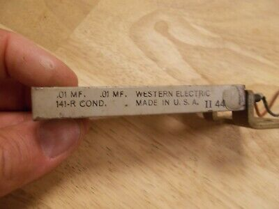 Western Electric 141-R Dual .01 mF Oil Dual Capacitor, with bracket etc.