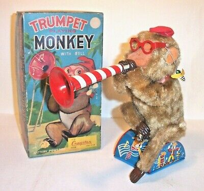 WORKING 1950s BATTERY OPERATED TRUMPET PLAYING MONKEY VINTAGE TIN LITHO TOY ALPS