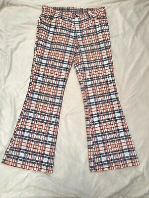Vintage 60's - 70's Unisex Levis Big E Sta-Prest Plaid Straight Pants