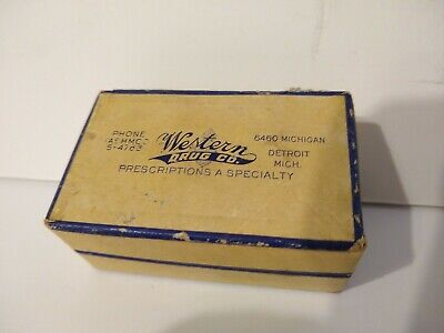 Vintage Cardboard Western Drug Pharmacy Prescription Drug Pill Box Detroit Mi.