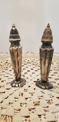 W. B. Mfg. Co. Set of Vintage Silver Plated Salt and Pepper Shakers Tall