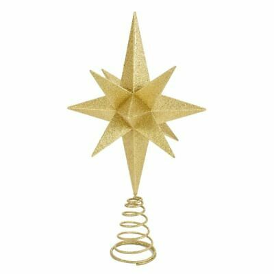 "Moravian Star Tree Topper Large Gold Christmas Acrylic 14.5"" Kurt Adler"