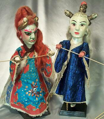 Genuine Antique Chinese Opera Puppets Much Traveled Demon /Wife Demon Authentic