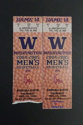 Washington Huskies Arizona State Sun Devils College Basketball Ticket Stubs