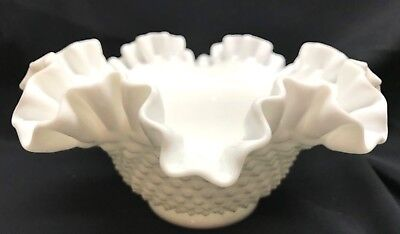 Antique Fenton White Milk Glass Hobnail BIG BOWL Vintage Crimped Ruffle PRE LOGO