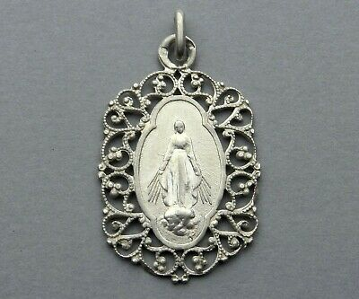 Saint Virgin Mary. Antique Religious Large Sterling Pendant. Miraculous Medal.